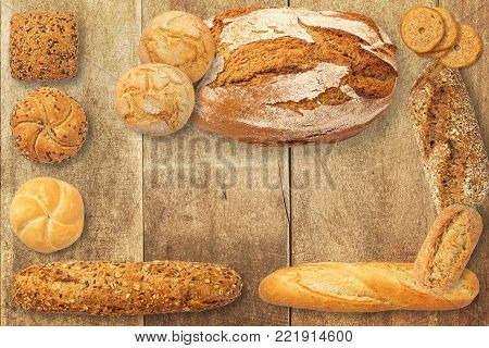 Assortment of baked bread, France home made bread