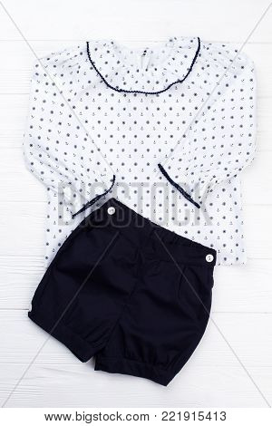 Combination of jacket and shorts. Sailor pattern, ruffle collar and edging. Stylish and elegant sleepwear for little lady.