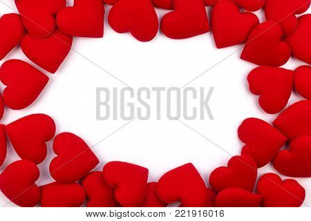 greeting card frame of red hearts on a white background. with Copy space and using as Valentine's day concept, love concept. wedding day, Symbol of Valentine's day.