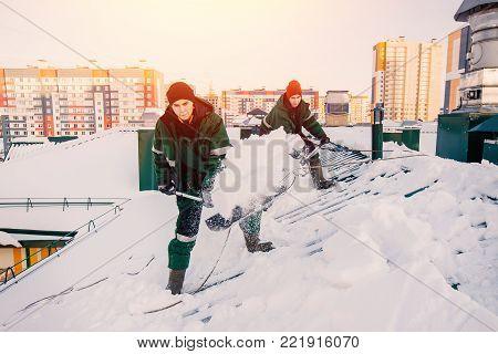 Snow cleaning. Team of male workers clean roof of building from snow with shovels in securing belts of mantra.