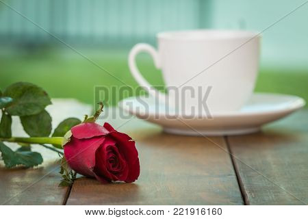 Cute little white cup of coffee with red rose flower on wooden table and home garden background. Romantic table setting, Valentine day celebration, Love concept, Positive thinking concept.