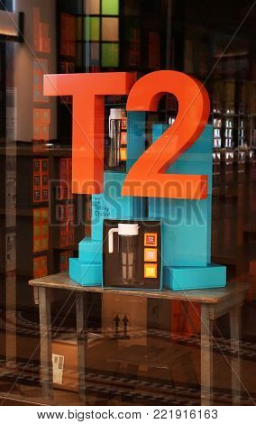 Sydney, Australia - November 03, 2017: T2 tea store retail window display. T2 is Australia's leading tea retailer with 65 stores in Australia, New Zealand, United Kingdom and US.
