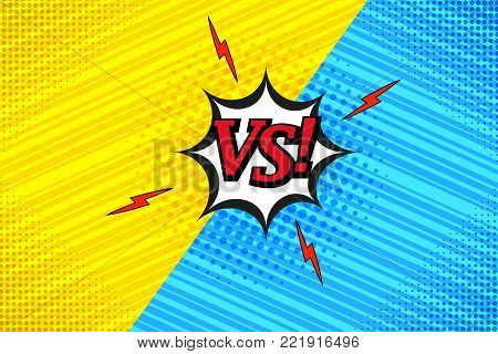 Comic vs template with two opposite sides, lightnings, halftone and slanted lines humor effects on blue and yellow backgrounds. Vector illustration