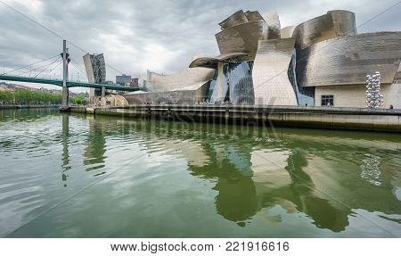 Guggenheim museum, Bilbao, - April 24, 2015: Guggenheim museum represents new era for the previously industry based city in Bilbao