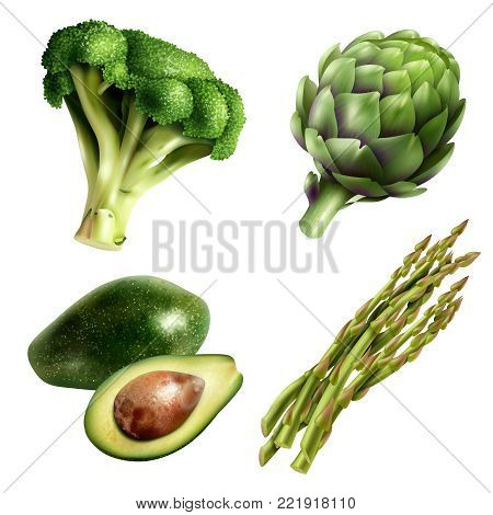 Set of four kinds of vegetables in realistic style with avocado broccoli artichoke and asparagus isolated vector illustration