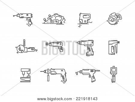 Working tools for construction and repair line icons drill, screwdriver, puncher, jig saw, fretsaw, plane, jointer, angle grinder