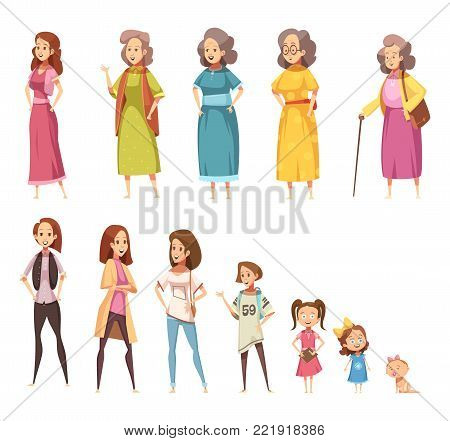 Women generation flat colored icons set of all age categories from infancy to maturity isolated cartoon vector illustration