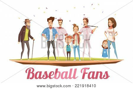 Baseball fans design concept with three generations of big family standing on baseball field flat cartoon vector illustration