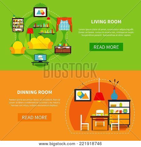 Interior design horizontal banners set with living and dining room flat isolated vector illustration