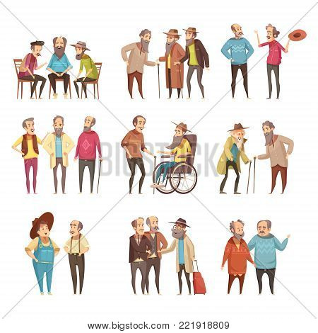 Senior men groups socialization activities retro cartoon icons collection with cane and in wheel chair vector illustration