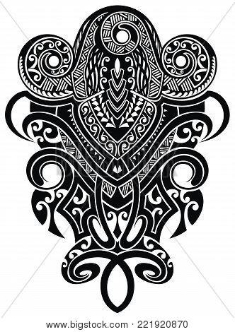 Black and white vector graphics. Sacred geometry in maori style