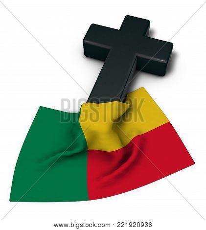 christliches kreuz und flagge von benin - 3d rendering