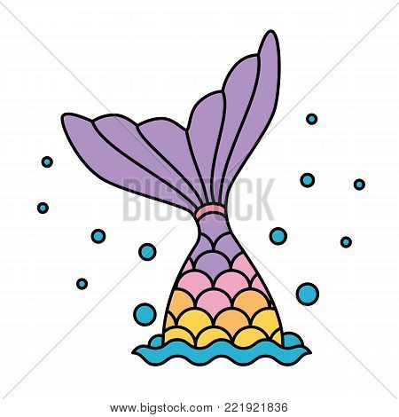Mermaid tail rainbow pastel colorful jumping to water bubbles vector
