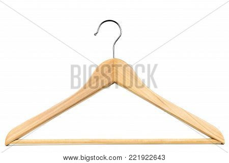 Wooden coat hanger / clothes hanger on a white background