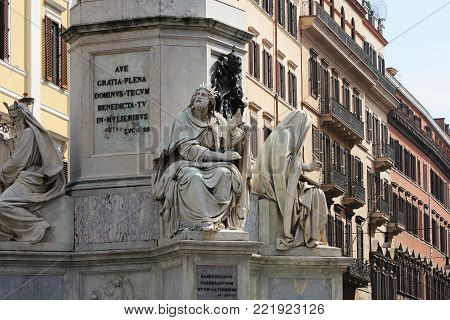 Biblical Statues at Base of Colonna dell'Imacolata in Rome, Italy .