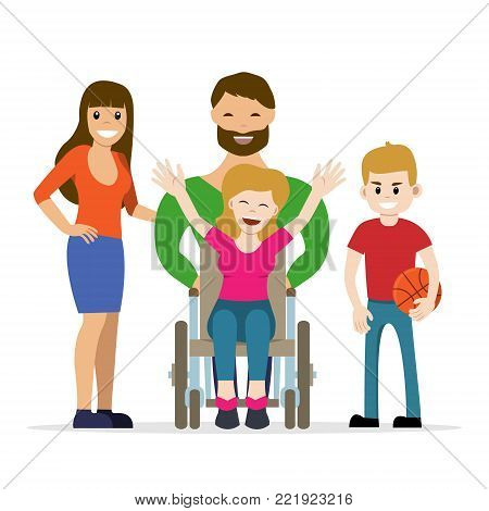 Disabled young woman in wheelchair with her son, daughter and husband. Flat vector characters in isolated background. Concept for happy family,  lifestyle and opportunities for people with disability.