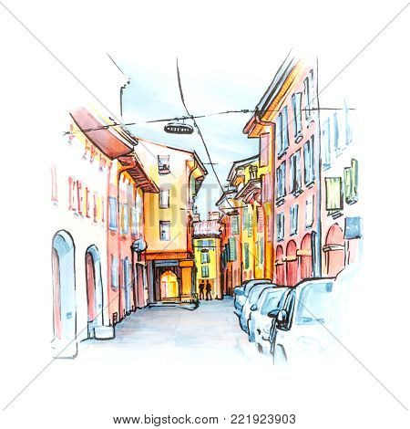 Medieval street portico with bright colored houses in the Old Town in the sunny day, Bologna, Emilia-Romagna, Italy. Sketch made liner and markers