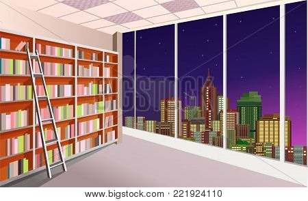 vector illustration of a shelving bookshelf on the wall in the great hall in the library of the panoramic window at the city skyline night