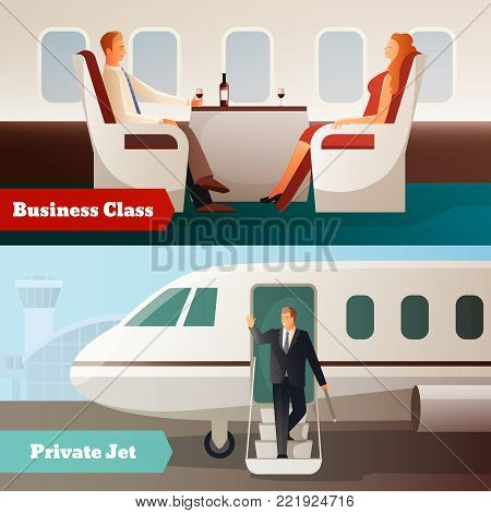Trip on airplane horizontal banners with private jet and people in business class salon isolated vector illustration