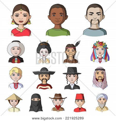 The human race cartoon icons in set collection for design. People and nationality vector symbol stock  illustration.