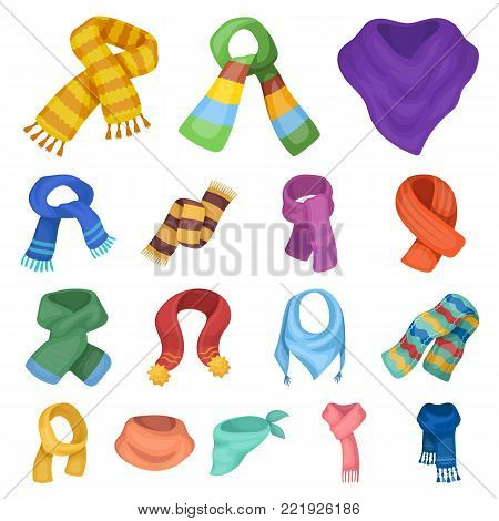 Scarf and Shawl cartoon icons in set collection for design.Clothes and Accessory vector symbol stock illustration.