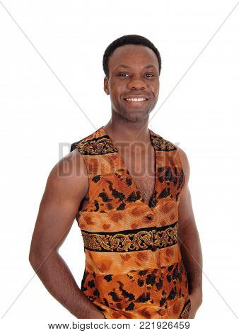 A close up image of a young African American man standing in a brown vest, with his hands in his pocked, isolated for white background