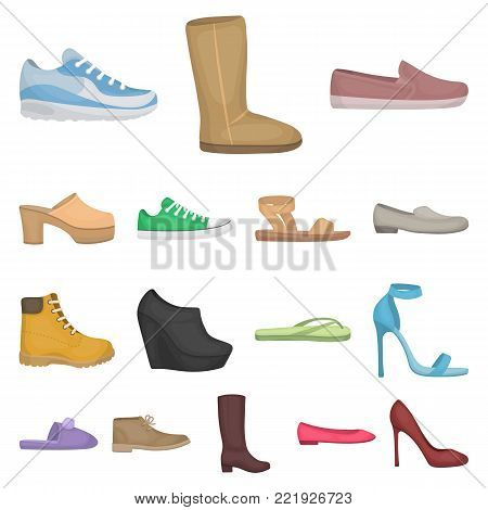 A variety of shoes cartoon icons in set collection for design. Boot, sneakers vector symbol stock  illustration.
