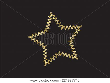 Festive magic effect. Golden shimmer shine star isolated black. Vector confetti party illustration. Glowing decoration design frame. Light fashion spray banner stardust. poster