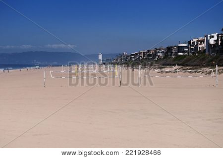 Volleyball nets set up on Manhattan Beach California.