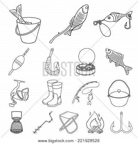 Fishing and rest outline icons in set collection for design. Tackle for fishing vector symbol stock  illustration.