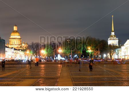 St. Isaac's Cathedral, Admiralty and Palace Square in St.Petersburg at night, Russia.