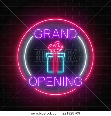 Neon new store grand opening with lottery and gift sign in circle shapes on a brick wall background. Round the clock working night club signboard with lettering. Vector illustration.