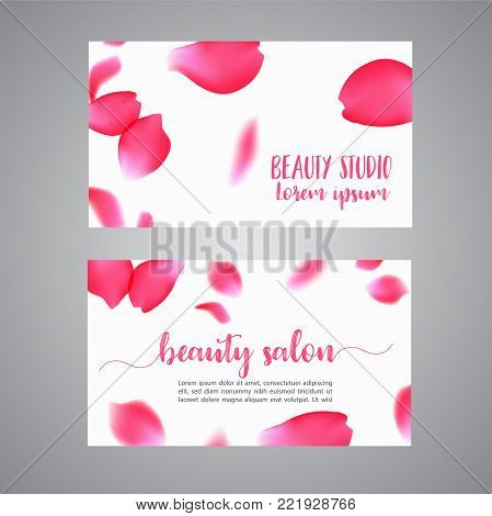 Vector business card template with rose petals. Floral concept for boutique, jewelry, floral shop, beauty salon, spa, fashion, flyer.. Vector illustration