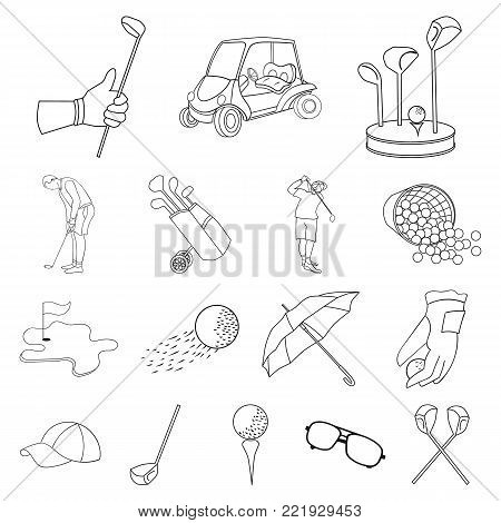 Golf and attributes outline icons in set collection for design.Golf Club and equipment vector symbol stock  illustration.