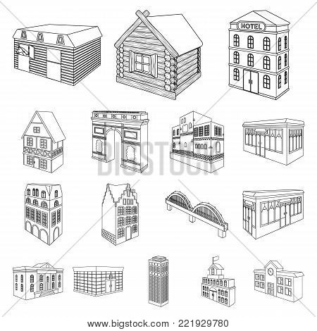 Building and architecture outline icons in set collection for design.The building and dwelling vector isometric symbol stock  illustration.