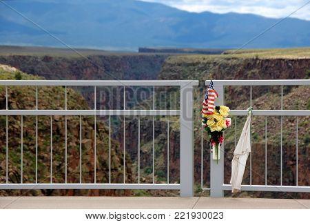 Suicide memorial at Rio Grande Gorge Bridge (identifying marks removed)