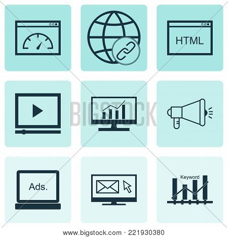 Advertising icons set with digital media, media campaign, connectivity and other keyword optimisation elements. Isolated vector illustration advertising icons.