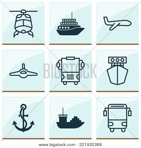Transportation icons set with cruise, college transport, tanker and other plane  elements. Isolated vector illustration transportation icons.