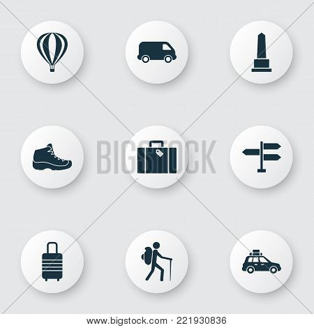 Exploration icons set with sneaker, pickup, direction and other airship elements. Isolated vector illustration exploration icons.