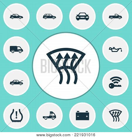 Auto icons set with indicator, fixing, auto and other indicator elements. Isolated vector illustration auto icons.