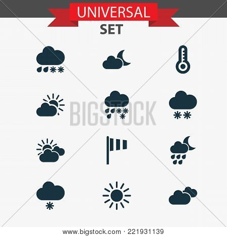 Weather icons set with sunset, snowfall, moonlight and other sun elements. Isolated vector illustration weather icons.