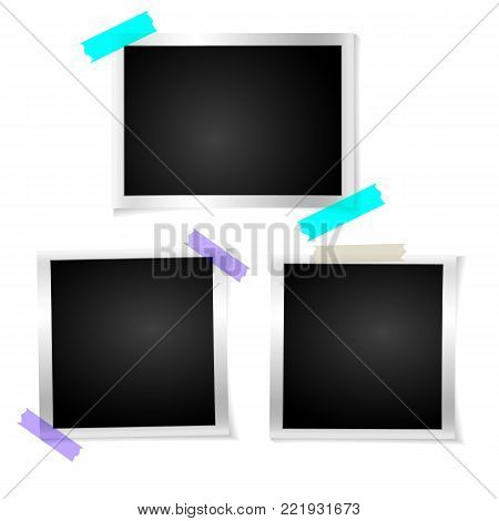 Set frame retro photo on white isolated background. Vintage Horizontal blank old photography. Square picture frame with adhesive tape. Vector illustration