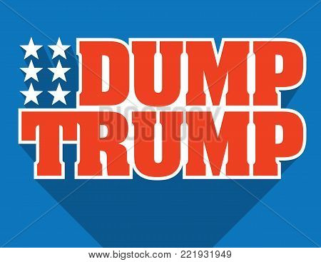Dump Trump Badge or Emblem Vector Design. Red white and blue typographic design protesting Donald Trump's presidency with the words Dump Trump and stars with perspective crop shadow graphic.