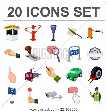 Parking for cars cartoon icons in set collection for design. Equipment and service vector symbol stock  illustration.