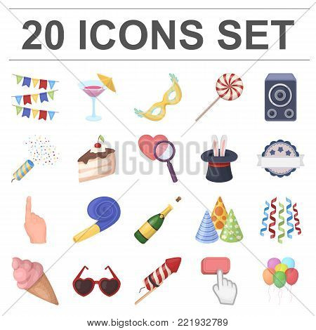 Party, entertainment cartoon icons in set collection for design. Celebration and treat vector symbol stock  illustration.