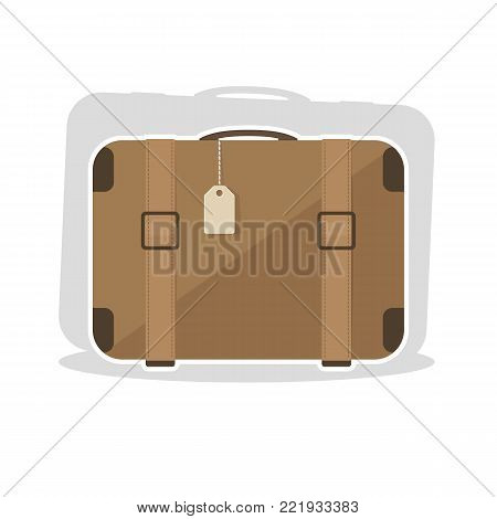 Old vintage suitcase with leather belt. Vector illustration in flat cartoon style.