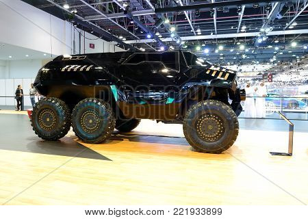 DUBAI, UAE - NOVEMBER 17: The luxury Devel Sixty off-road car is on Dubai Motor Show 2017 on November 17, 2017