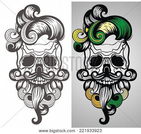 Bearded skull illustration . Tattoo vector skull design