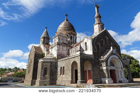The Balata cathedral is a replica of Parisian Montmartre Sacre Coeur church lodged on a cliff surrounded by tropical forest, Martinique island, French West Indies.