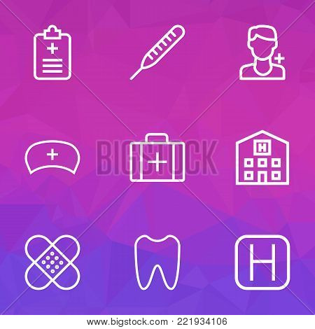 Medicine icons line style set with rapport, case, hospital and other plaster  elements. Isolated  illustration medicine icons.